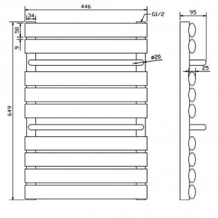 Premier Designer Heated Ladder Towel Rail 650mm H x 445mm W - White
