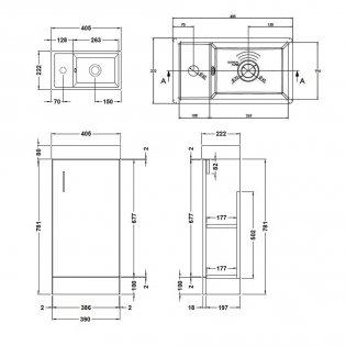 Premier Vault Floor Standing 1-Door Vanity Unit Basin 400mm Wide - Gloss Grey