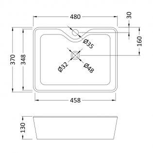 Premier Vessels Square Countertop Basin 480mm Wide - 1 Tap Hole