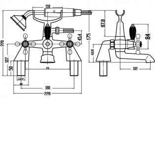 Premier Viscount Large Handset Bath Shower Mixer Tap Pillar Mounted - Chrome