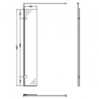 Premier Hinged Wet Room Return Panel, 300mm Wide, 8mm Glass