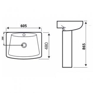 Prestige Eris Basin & Full Pedestal 610mm Wide 1 Tap Hole