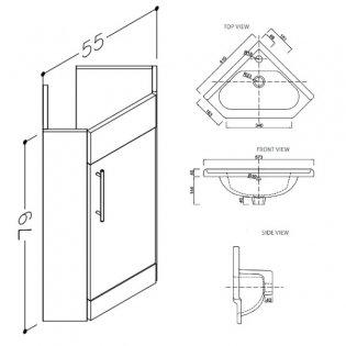 Prestige Evolve Corner Cloakroom Bathroom Vanity Unit & Basin 400mm W White 1 Tap Hole