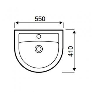 Prestige Felicite Basin with Semi Pedestal 550mm Wide 1 Tap Hole