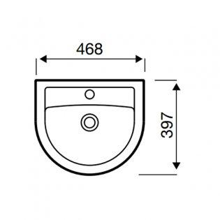 Prestige Felicite Basin with Semi Pedestal 460mm Wide 1 Tap Hole