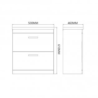 Prestige Marlow 2-Drawer Wall Hung Vanity Unit with Basin 500mm Wide White 1 Tap Hole