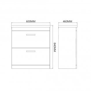 Prestige Marlow 2-Drawer Floor Standing Vanity Unit with Basin 600mm Wide White 1 Tap Hole