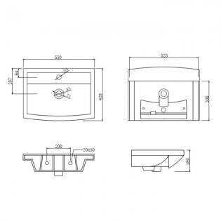 Prestige Trim Semi Recessed Basin 550mm Wide 1 Tap Hole