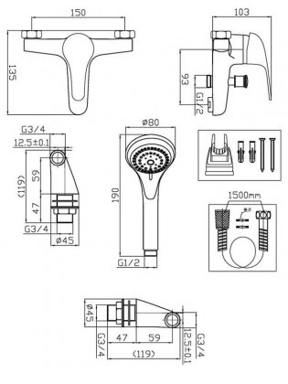 Prestige Trinidad Bath Shower Mixer Tap Pillar Mounted - Chrome