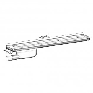 Purus Living Linear Parallel Wet Floor Drain, 600mm Wide, Stainless Steel Tile Grate