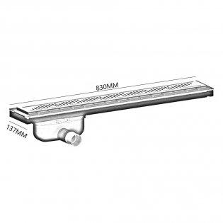 Purus Living Linear Side Wet Floor Drain, 800mm Wide, Stainless Steel Twist Grate