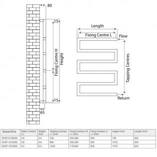 Radox Serpentine Designer Towel Rail, 1570mm High x 500mm Wide, Stainless Steel