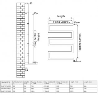 Radox Serpentine Designer Heated Towel Rail 730mm H x 500mm W Chrome