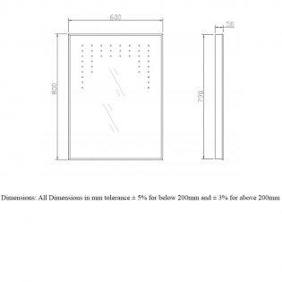 RAK Cezanne Rectangular LED Mirror with Switch and Demister Pad 800mm H x 600mm W Illuminated
