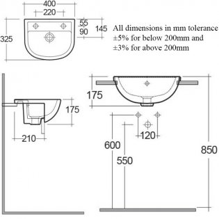 RAK Compact Semi-Recessed Basin 400mm Wide 1 LH Tap Hole