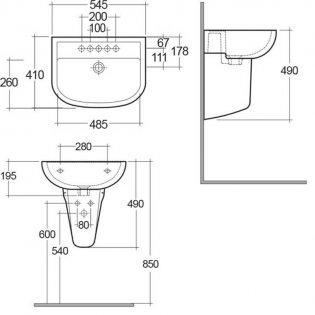 RAK Compact Basin & Semi Pedestal 550mm Wide 2 Tap Hole
