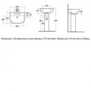 RAK Compact Basin & Full Pedestal 550mm Wide 1 Tap Hole