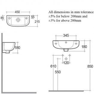 RAK Compact Cloakroom Basin 450mm Wide 1 LH Tap Hole