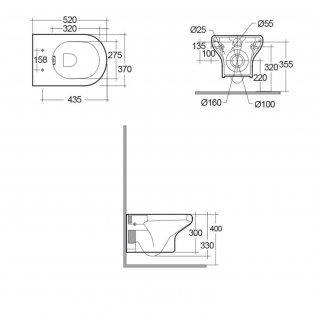 RAK Compact Rimless Wall Hung Toilet 520mm Projection - Soft Close Seat