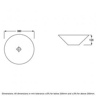 RAK Cone Sit-On Countertop Basin 380mm Wide - 0 Tap Hole