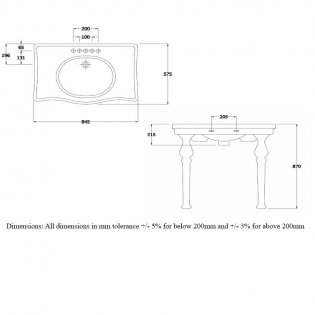RAK Console Alexandra Basin with Ceramic Legs 850mm Wide - 2 Tap Hole