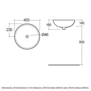 RAK Diana Sit-On Countertop Basin 450mm Wide - 0 Tap Hole