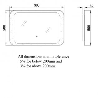 RAK Harmony LED Mirrors with Switch and Demister Pad 500mm H x 900mm W