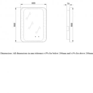 RAK Harmony LED Mirrors with Demister Pad and Bluetooth 800mm H x 600mm W