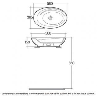 RAK Infinity Large Counter Top Basin 580mm Wide