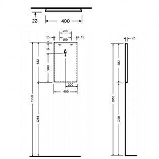 RAK Joy Wall Hung Bathroom Mirror 680mm H x 400mm W