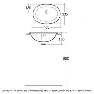 RAK Lily Inset Countertop Basin 460mm Wide - 0 Tap Hole
