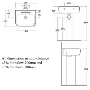 RAK Metropolitan Basin & Full Pedestal 520mm Wide 2 Tap Hole