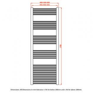 RAK Metropolitan Straight Ladder Towel Rail 1700mm H x 400mm W - Chrome