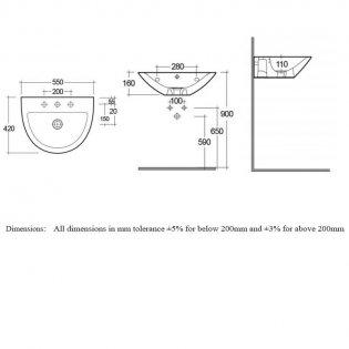 RAK Morning Semi Recessed Basin 550mm Wide - 1 Tap Hole