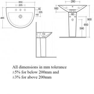 RAK Morning Basin with Full Pedestal 650mm W - 1 Tap Hole