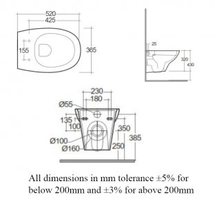 RAK Morning Rimless Wall Hung Toilet With Exposed Fitting 520mm Projection - Soft Close Seat