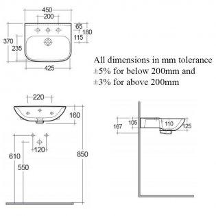 RAK Origin 62 Cloakroom Basin 450mm Wide - 1 Tap Hole
