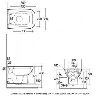 RAK Origin 62 Wall Hung Toilet - Urea Soft Close Seat