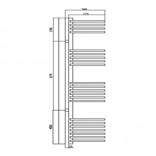 RAK Seagram Designer Heated Towel Rail 1200mm H x 280mm W - Chrome