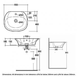 RAK Sensation Wall Hung Basin 550mm Wide - 1 Tap Hole