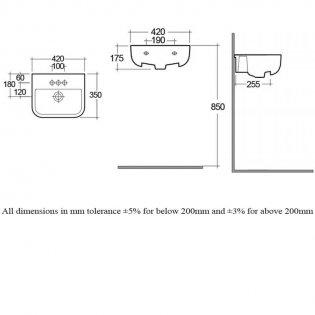 RAK Series 600 Semi-Recessed Basin 420mm Wide 2 Tap Hole