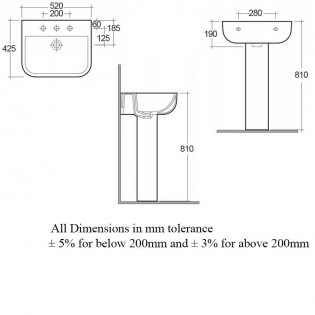 RAK Series 600 Basin & Full Pedestal 520mm Wide 2 Tap Hole