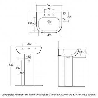 RAK Tonique Basin & Full Pedestal 550mm Wide 1 Tap Hole
