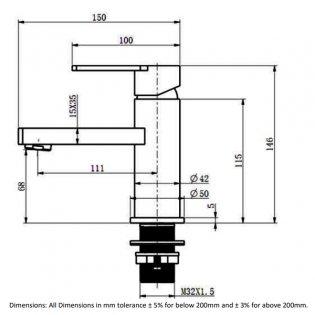 RAK Tonique Mono Basin Mixer Tap - Chrome