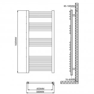 Reina Capo Straight Heated Towel Rail 1600mm H x 500mm W Chrome