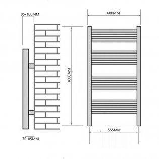 Reina Capo Curved Heated Towel Rail 1600mm H x 600mm W Chrome