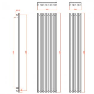Reina Cascia Designer Vertical Radiator 1800mm H x 240mm W Chrome