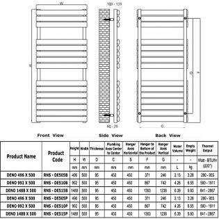 Reina Deno Designer Heated Towel Rail 496mm H x 500mm W Brushed Stainless Steel