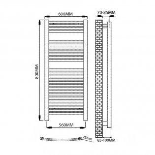 Reina Diva Electric Curved Heated Towel Rail 800mm H x 600mm W White
