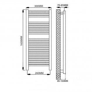 Reina Diva Electric Straight Heated Towel Rail 1600mm H x 300mm W Chrome